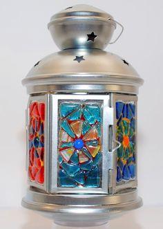 "Mini ""Lighten Up"" Hexagonal Lantern with Fused Glass Panels 9"" High 5"" Round Base"