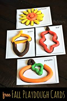 FREE Fall Playdough Cards - super cute free printable fall activity for preschool, toddler, kindergarten age kids that works on vocabulary, strengthening hand muscles, and sensory Fall Preschool Activities, Playdough Activities, Preschool Classroom, Preschool Learning, Preschool Crafts, Toddler Activities, Toddler Preschool, Teaching, Kindergarten Age