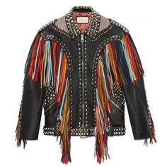 Gucci Embroidered Leather Jacket With Fringe (33.155 RON) ❤ liked on Polyvore  featuring outerwear 985688f1ef9
