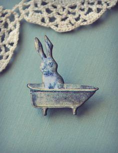bunny in the bathtub brooch by bellehibou on Etsy, Little Bunny Foo Foo, Rabbit Art, Bunny Art, 1920s Art Deco, Unusual Jewelry, Binky, Animal Jewelry, Vintage Brooches, Whimsical