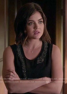 Aria's black top with embellished snake on Pretty Little Liars.  Outfit Details: http://wornontv.net/50745/ #PLL