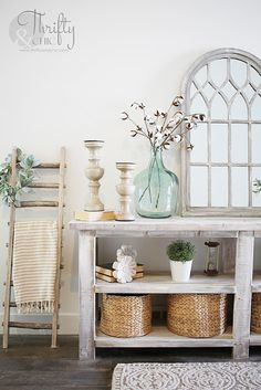 DIY rustic X console table. Wood X console table tutorial. Entry way decor and decorating ideas. How to make wood look weathered. How to decorate an entry way. Diy Rustic Decor, Rustic Home Design, Rustic Table, Farmhouse Decor, Farmhouse Style, Diy Storage Table, Diy Table, Storage Ideas, Sofa Table Decor