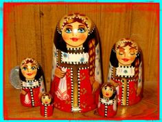 Russian HAND PAINTED nesting doll small RED BLACK FUNKY unusual shape BABUSHKA 5 | eBay