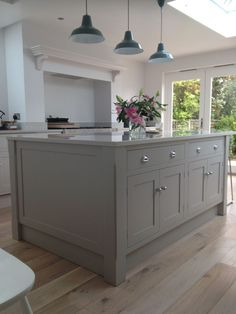 Wooden kitchen floor, grey kitchen island, inset cabinets, kitchen walls, k Grey Shaker Kitchen, Shaker Style Kitchens, Grey Kitchens, Home Kitchens, Grey Kitchen Diner, Style Shaker, Ivory Kitchen, Home Interior, Kitchen Interior
