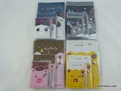 1x-Kawaii-Notebooks-Cute-Animal-Face-Design-PVC-Jacket-Cover-3-books-set