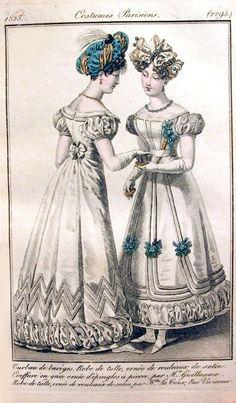 19th Century Fashion Plate: Costume Parisiens from Journal des Dames et Modes, 1825 (2295)