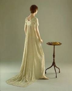 1804 Evening Dress. The light gauzy material would catch the candlelight in the ballroom and appear to shimmer.