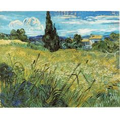 Green Wheat Field with Cypress by Vincent van Gogh,  Categories: Landscape painting, Field painting, Post Impressionism,