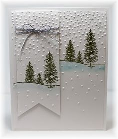 winter snow embossed card by Becky