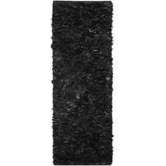 Safavieh Hand-Knotted Leather Shag Area Rug, Black