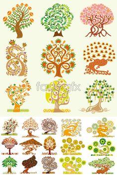 Set of creative cartoon tree vector