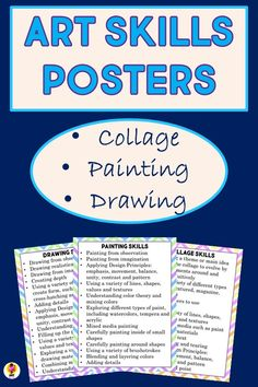 """Includes three different posters to display in the elementary or middle school art room, which list suggested skills for students to attain in collage, painting and drawing. Includes 8.5""""x11"""" and 8.5""""x14"""" sizes. #artskillskids #artroomposters Middle School Art, Art School, Art Room Posters, Essential Questions, Art Curriculum, Teacher Pay Teachers, Painting & Drawing, Unity, Bliss"""