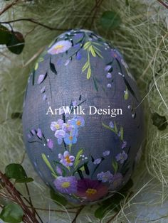 Hand painted on wooden egg by ArtWilk.