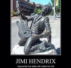 Jimi Hendrix x Star Wars Jimi Hendrix Experience, Jabba The Hutt, Bad Feeling, Geek Out, Nerdy, Sci Fi, Pokemon, Funny Pictures, Geek Stuff
