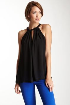 Love Stitch Sleeveless Chiffon Keyhole Top