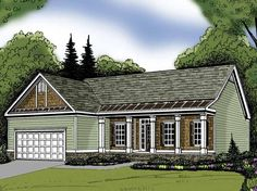 Home Plan HOMEPW02680 - 1870 Square Foot, 3 Bedroom 2 Bathroom Traditional Home with 2 Garage Bays | Homeplans.com