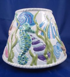 Yankee Candle Large Jar Topper Shade Shells Seahorse Sand Dollar Seaside  #YankeeCandle