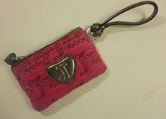 Juicy Couture Designer Pink Velour Zippered Change Purse Clutch with Wrist Strap #JuicyCouture #ClutchCosmeticBag