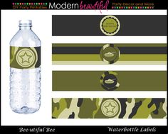 printed labels for water bottles - army theme