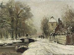 A WINTRY ROAD ALONG A WATERWAY By Louis Apol