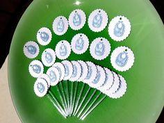 Kit BABY = 15toppers+15tags azul ou rosa - Momô Artesanatos