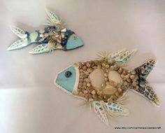 2 piece fish seashell fish wall ornaments_beach decor_coastal cottage