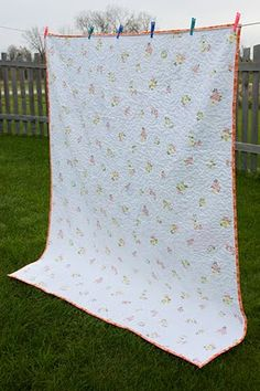 back of quilt with vintage sheet