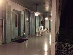 The veranda of The Myrtles Plantation in St. Francisville, LA....at night. :-}