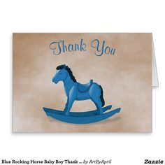 Blue Rocking Horse Baby Boy Thank You Stationery Note Card