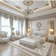 Luxury bedroom. Cream and white. Beautiful chandelier