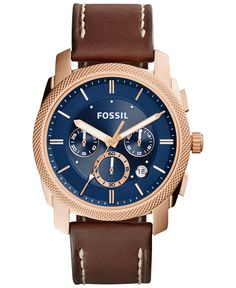 Fossil Men's Chronograph Machine Brown Leather Strap Watch 42mm FS5073 - Men's Watches - Jewelry & Watches - Macy's