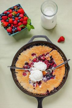 End of Summer Berry Cobbler // has to be made in a cast iron skillet, after my last scuba trip we made this over a camp fire and it was the best ever