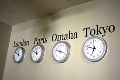 DIY World Clock Wall could put Germany and Florida. Could do this for where family lives around the world