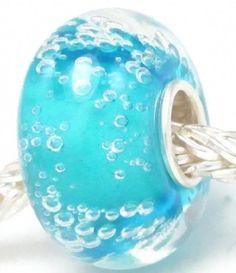 European Turquoise Hawaii Ocean with Bubble Water Park Murano Glass Bead Charm Fits Pandora Biagi Chilia Trollbeads Bracelet