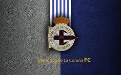 Download wallpapers Deportivo de La Coruna FC, 4K, Spanish football club, La Liga, logo, emblem, leather texture, La Coruna, Spain, football
