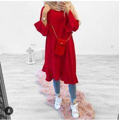 Red Fashion Outfits, Modest Fashion Hijab, Modern Hijab Fashion, Casual Hijab Outfit, Hijab Fashion Inspiration, Hijab Chic, Muslim Fashion, Casual Outfits, Muslim Shop