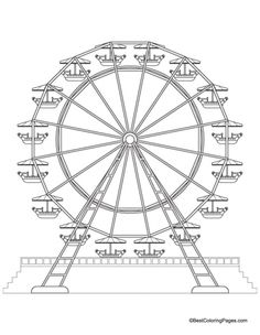 Ferris wheel coloring pages ~ Stock Photo | Tattoo | Riesenrad, Illustration und Silhouette
