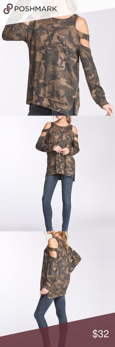 Camo Sweatshirt for Women Camo is a girls best friend this season, and you will love the comfort and versatility of this top. Pair with black leather pants and strappy high heels or destroyed denim.   Loose fit, round neck, long sleeve top. Banded sleeves. Side slits. Has waistband. Cold shoulder sleeves with strap. Raw edge detail at sleeves and waistband. Made of 90% polyester, 7% rayon and 3% spandex.  Hand wash cold, lay flat to dry. small through large available. Tops Sweatshirts…