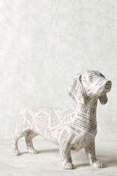 """Dog Made Out Of Newspapers - """"Paper Mache"""""""
