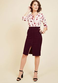 Matters of Moxie Pencil Skirt. When your business style is bold yet refined, you need a look to match. #red #modcloth