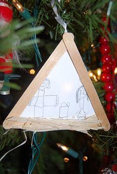 kids make a nativity drawing ornament - sweet