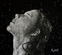 Water Splash Portrait - drawing by on deviantART Movement Photography, Splash Photography, Face Photography, Splash Images, Water Shoot, Water Movement, Realistic Pencil Drawings, A Level Art, Black And White Portraits