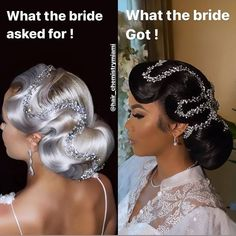 Black Brides Hairstyles, Bride Hairstyles, Wig Hairstyles, Bridal Hair And Makeup, Hair Makeup, Bridal Beauty, Curly Hair Styles, Natural Hair Styles, Bride Hair Accessories
