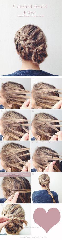 Wonderful 5 Strand Braid Bun – 16 Heatless DIY Hairstyles To Get You Through The Summer | GleamItUp  The post  5 Strand Braid Bun – 16 Heatless DIY Hairstyles To Get You Through The Summer | …  a ..