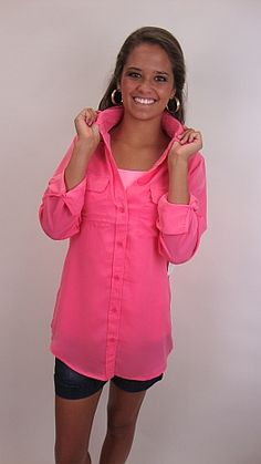 Two of the hottest trends collide in this awesome top: NEONS and boyfriend shirts!! $42