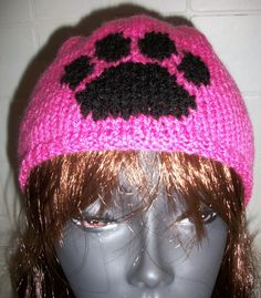 Items similar to Knitted Hat Paw Print Beanie on Etsy Cat Hat, Knitted Hats, Beanie, Kitty, Trending Outfits, Unique Jewelry, Handmade Gifts, Vintage, Fashion