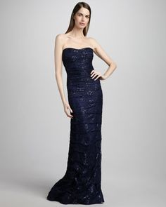 Metallic Lace Gown by Rickie Freeman for Teri Jon at Neiman Marcus.