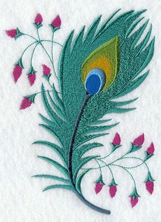 Machine Embroidery Designs at Embroidery Library! Peacock Embroidery Designs, Diy Embroidery Patterns, Hand Work Embroidery, Simple Embroidery, Hand Embroidery Stitches, Embroidery Techniques, Embroidery Applique, Machine Embroidery Designs, Couture