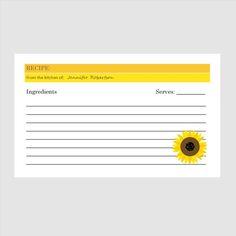 Recipe Card   Sunflower  Customized   PRINTABLE by LexiekinPrints, $9.50