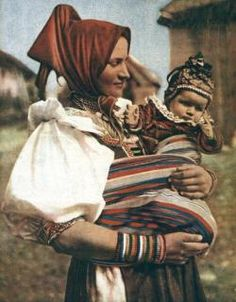 Vazec, Slovakia (around 1920 I think). What a cute baby attire! And the way mother tied the cloth to carry the baby :) Folk Clothing, Antique Paint, Ragnar, Central Europe, My Forever, World Cultures, Ancestry, Vintage Photos